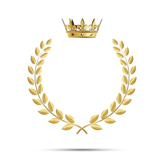 Corona di alloro dorata isolata con corona
