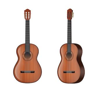 Vista frontale e laterale dell'illustrazione della chitarra isolata