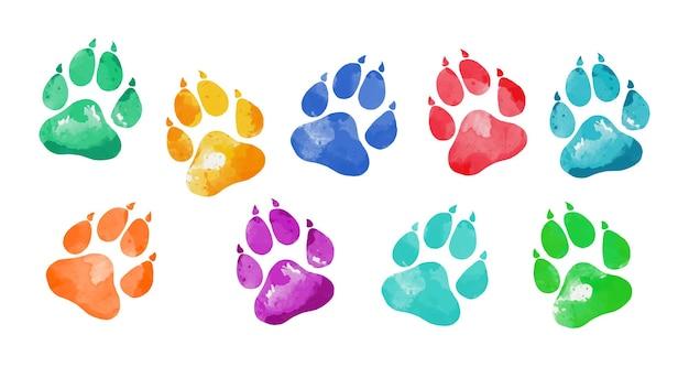Isolato disegnato a mano acqua colore impronte di animali silhouette di una zampa stampa
