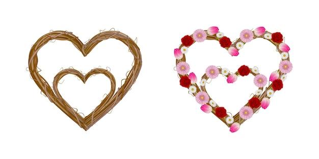 Ghirlande a forma di cuore isolato con ghirlande di fiori festa della mamma