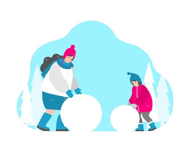 Concetto di illustrazione isolato. la mamma e la ragazza sorridente stanno rotolando la palla per scolpire il pupazzo di neve