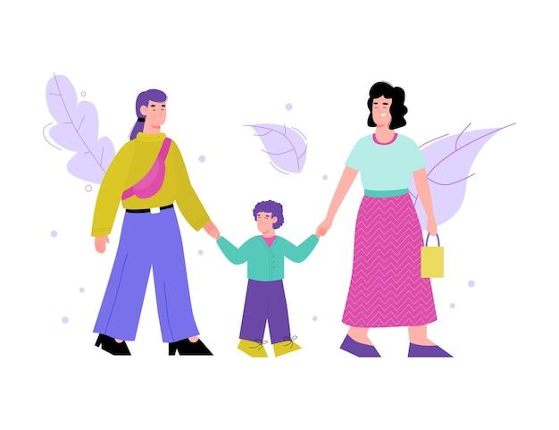 Illustrazione isolata di una famiglia lesbica felice che cammina con il loro bambino