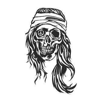 Illustrazione isolata di hippie morto