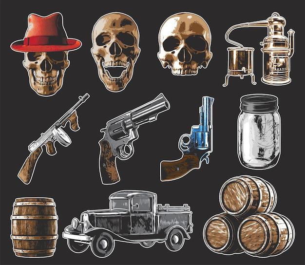 Set di illustrazioni isolate: teschi, pistola, pistole, barattolo di chiaro di luna, camion del contrabbandiere, distillatore, barili