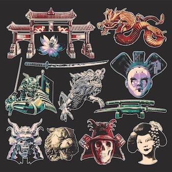 Set di illustrazioni isolate - torrie, geisha, samurai, draghi, testa di tigre, spade katana e fiore di sakura