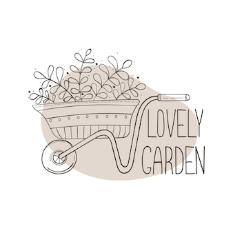 Immagine isolata di una carriola da giardino