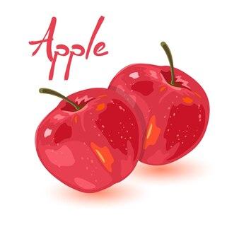 L'immagine isolata mostra le mele verdi rosse con i fogli