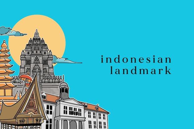 Illustrazione isolata del punto di riferimento indonesiano per banner o poster