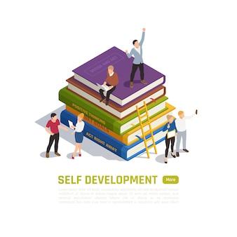 Concetto di vincitore isolato e isometrico con descrizione dello sviluppo personale e altro pulsante