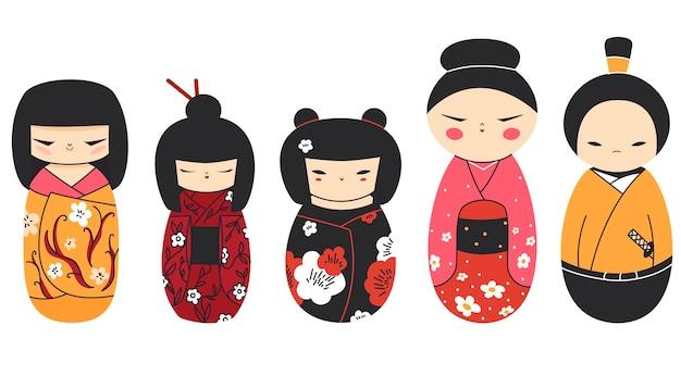 Collezione di bambole kokeshi isolata