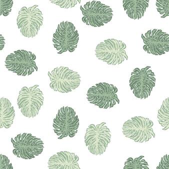 Reticolo senza giunte della natura isolata con stampa di foglie di monstera doodle. sfondo bianco. stile semplice.