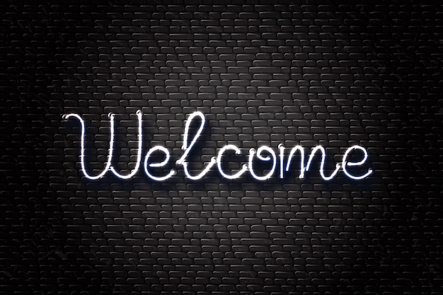 Segno al neon isolato di scritte di benvenuto