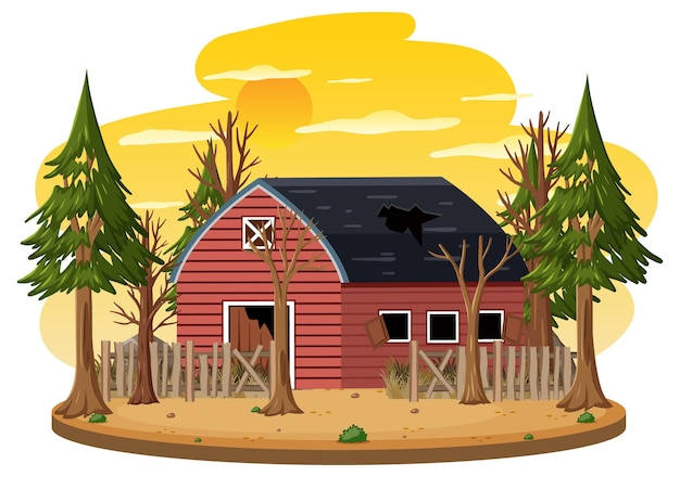 Vecchia fattoria rotta isolata nel rural