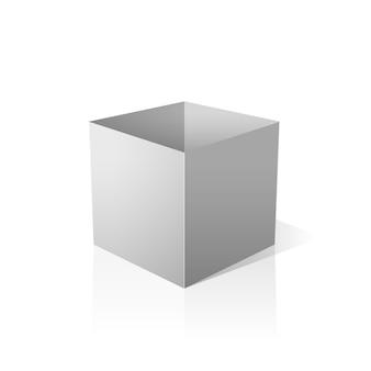 Isolato scatola bianca aperta