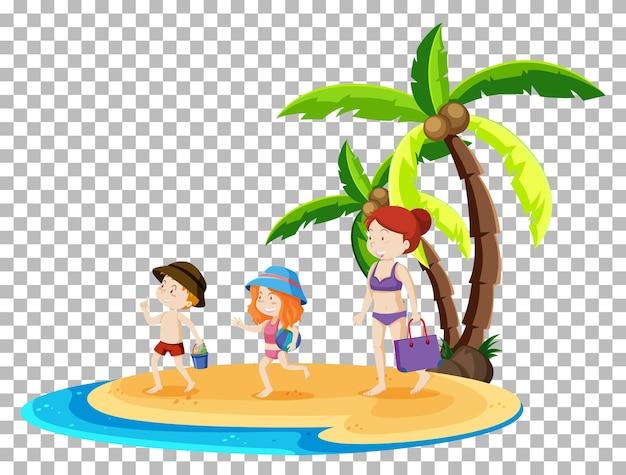 Persone isolate in spiaggia estiva