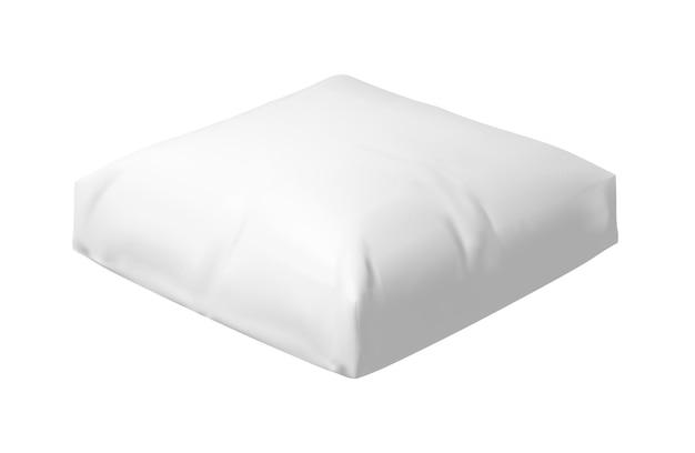 Cuscino morbido vuoto realistico isolato su sfondo bianco