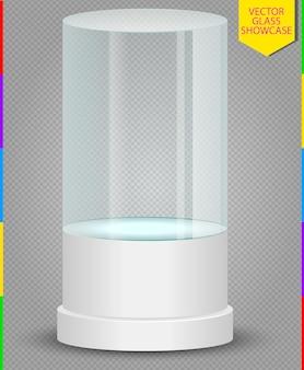 Vetrina di vetro vuota realistica isolata. illustrazione su sfondo trasparente