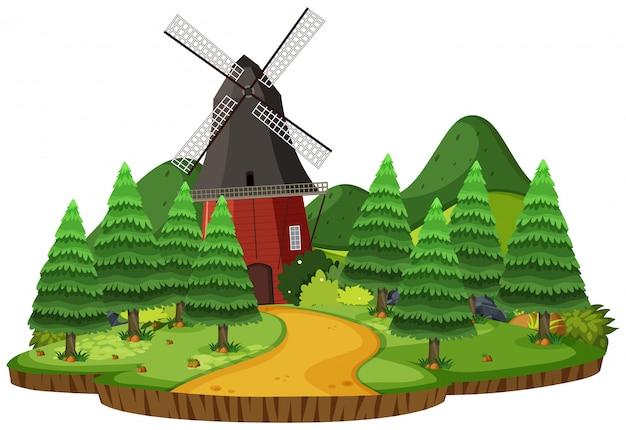 Scena di paesaggio rurale isolata