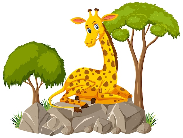 Scena isolata con una giraffa carina posata su una pietra