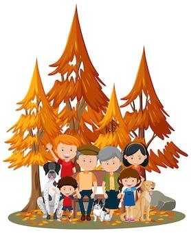 Scena isolata con la famiglia felice al parco