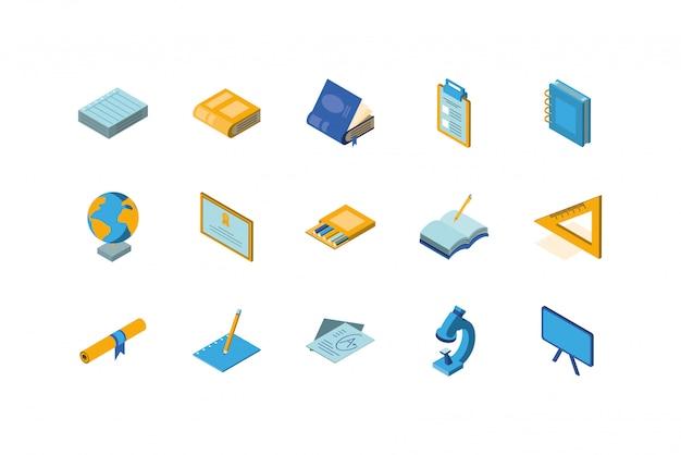 Progettazione stabilita di vettore dell'icona isolata della scuola