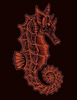 Illustrazione isolata dei cavalli di mare