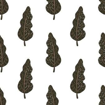 Reticolo senza giunte isolato di doodle con alberi scuri marroni disegnati a mano. sfondo bianco.