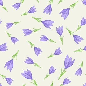 Modello floreale senza cuciture isolato con forme di fiori di croco contorno blu.