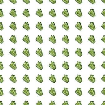 Reticolo senza giunte isolato con forme di elementi di foglia di palma piccola scarabocchio verde. sfondo bianco.