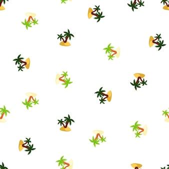 Reticolo senza giunte isolato con sagome di palme e isola verde e blu navy. sfondo bianco. progettato per il design del tessuto, la stampa tessile, il confezionamento, la copertura. illustrazione vettoriale.