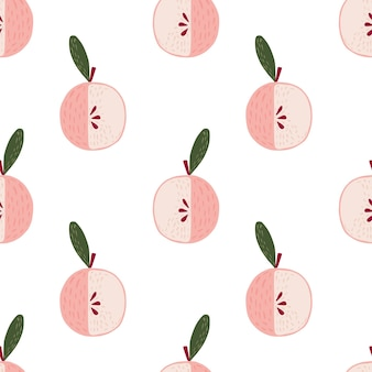 Reticolo senza giunte isolato con l'ornamento del fumetto mela rosa chiaro. sfondo bianco. illustrazione di riserva. disegno vettoriale per tessuti, tessuti, confezioni regalo, sfondi.