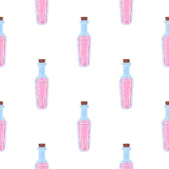 Modello senza cuciture isolato con ornamento di bottiglia di pozione magica.
