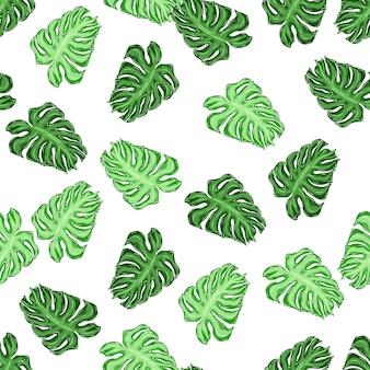 Reticolo senza giunte isolato con forme monstera foglia di palma verde casuale. sfondo bianco. fondale decorativo per il design del tessuto, stampa tessile, avvolgimento, copertina. illustrazione vettoriale.