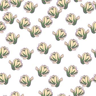 Modello senza cuciture isolato con elementi casuali di fiori di magnolia. sfondo bianco. stile semplice. illustrazione vettoriale per stampe tessili stagionali, tessuti, striscioni, fondali e sfondi.