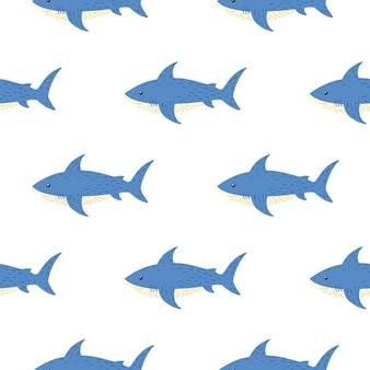 Modello senza cuciture isolato con ornamento di squalo sott'acqua. pesci blu su backround bianco.