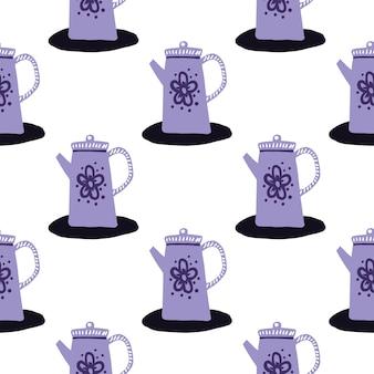 Modello di teiere viola senza soluzione di continuità isolato. ornamento della cucina di doodle su priorità bassa bianca.