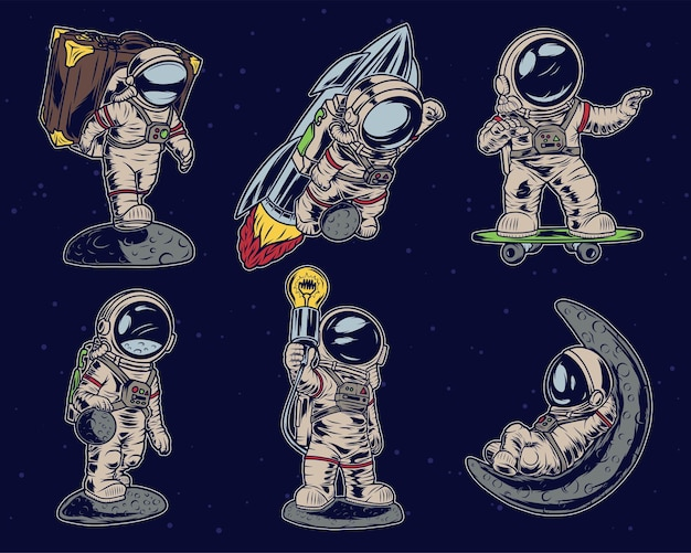 Insieme isolato di diversi astronauti con la valigia, sul razzo, sullo skateboard, giocando a palla pianeta, con lampada e sdraiato sulla luna.