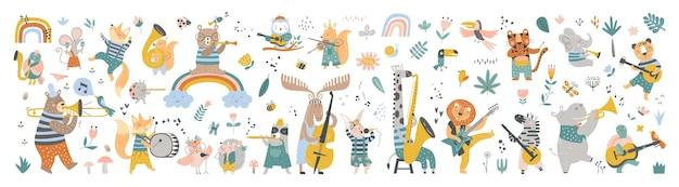 Set isolato con simpatici animali che suonano su diversi strumenti musicali in stile scandinavo cartoon