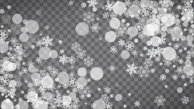 Fiocchi di neve isolati su sfondo grigio trasparente. saldi invernali, design di natale e capodanno per invito a una festa, banner, vendita. finestra invernale orizzontale. fiocchi di neve isolati magici. fiocchi d'argento