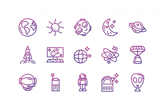 Progettazione stabilita di vettore dell'icona isolata dello spazio