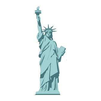 Statua della libertà isolata su priorità bassa bianca.