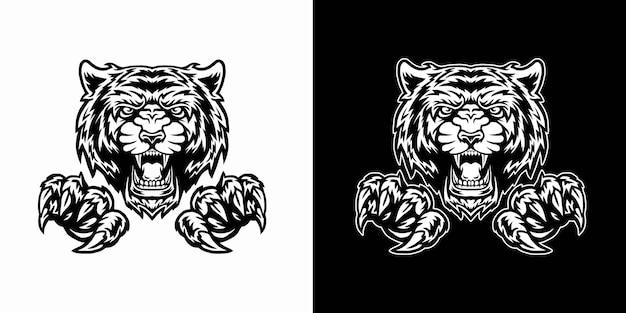 Tigre e artigli isolati