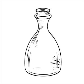 Vettore isolato bottiglia linea arte vaso di bottiglia di vetro trasparente vuoto flaconcino
