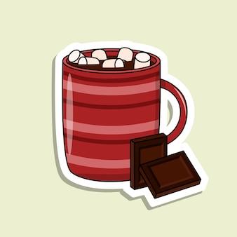 Tazza vettoriale isolata con bevande e marshmallow e barretta di cioccolato tazza rossa con strisce