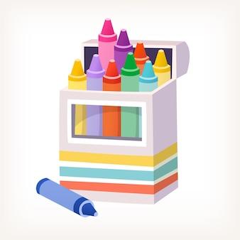 Immagine vettoriale isolata della scatola piena di pastelli colorati