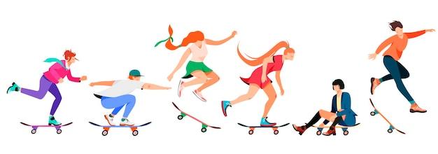 Isolato su bianco raccolta di persone che guidano uno skateboard