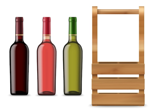 Bottiglie di vino isolate e cassa o scatola di legno. boccette di vetro in bianco di vettore con bevanda alcolica rossa, rosa e bianca su priorità bassa bianca. elemento per il design pubblicitario, vista frontale realistica del mockup 3d