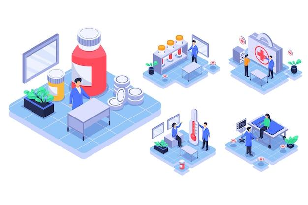 Medici isometici che fanno ricerche in laboratorio, paziente sul letto per ricevere un trattamento in personaggio dei cartoni animati, concetto di medicina. illustrazione piatta