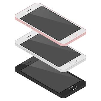 Isometrico 3 telefoni cellulari, la tecnologia del nuovo smartphone