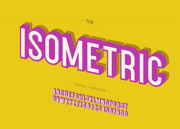 Tipografia grassetto 3d isometrica sans serif tipografia